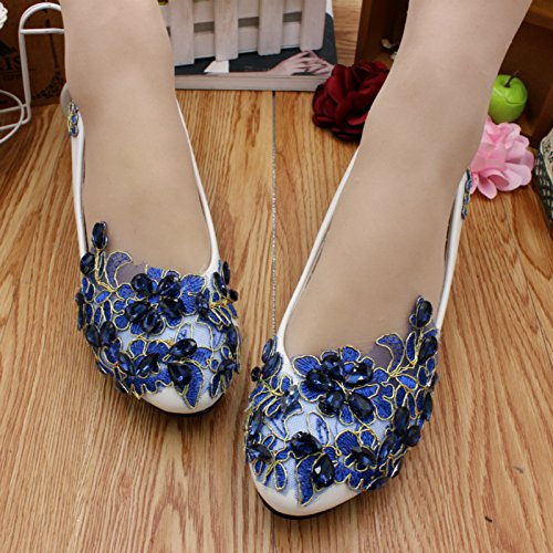 Summer amp; Party Spring Blue Wedding Height Banquet 3cm Lace And Women's Customize Rhinestones Bride Shoes Dress Si Bridesmaid Decals Handmade Heel Yq4dxd