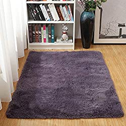 Junovo Ultra Soft Contemporary Fluffy Thick Indoor Area Rug for Home Decor Living Room Bedroom Kitchen Dormitory,4' x 5.3',Grey-purple