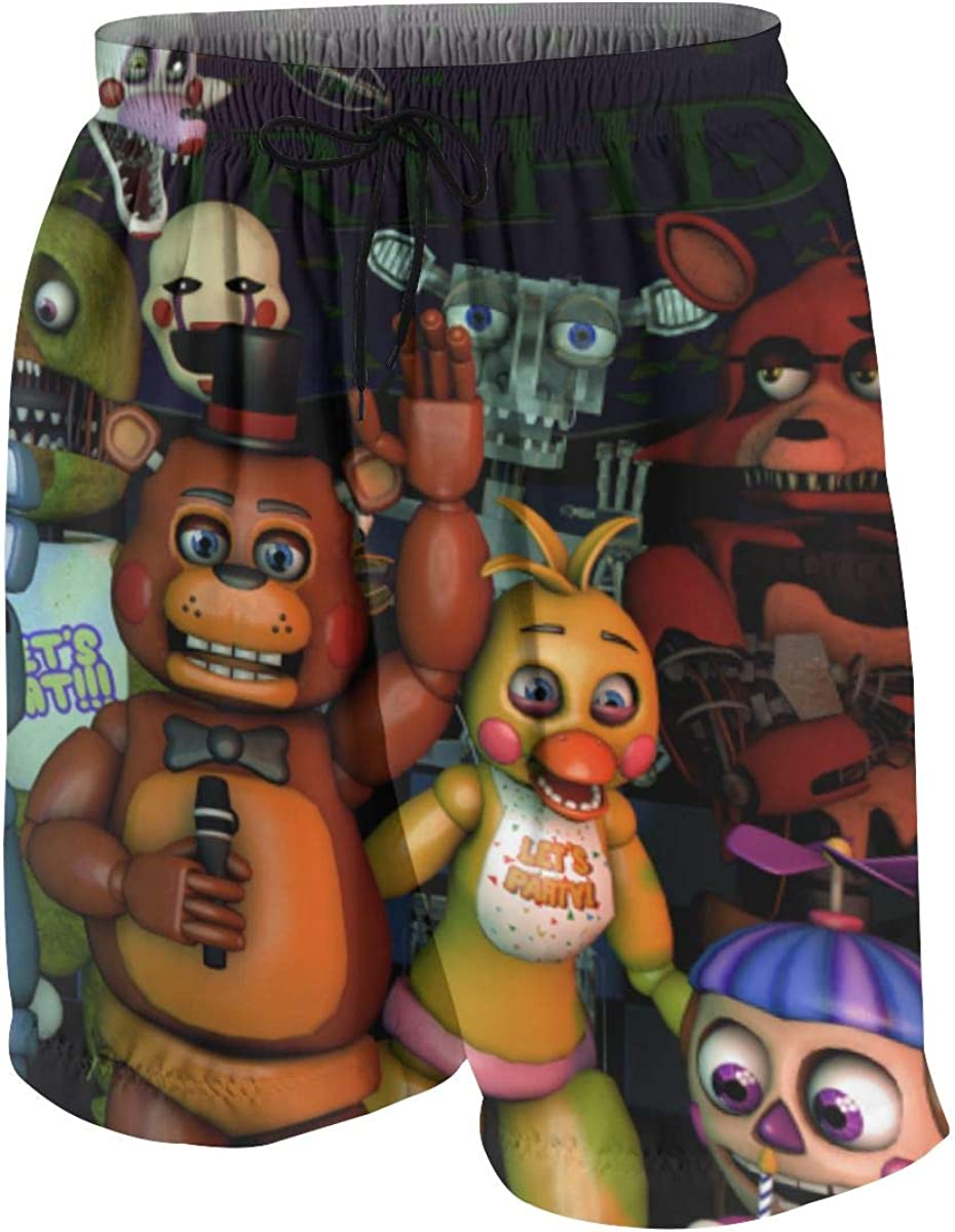 AndeyTT Five Nights at Fre-ddys Boys Teens Cool Swimtrunks Quick Dry 3D Printed Casual Beach Boardshorts 7-20 Years