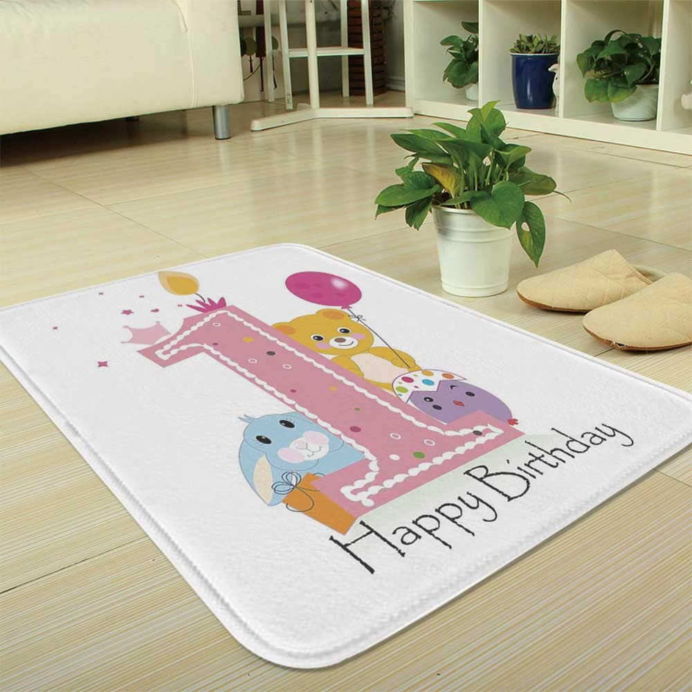 TecBillion Polyester Carpet,1st Birthday Decorations,for Meeting Room Dining Room,35.43''x47.24'',Princess Girl Party Cake with Candle
