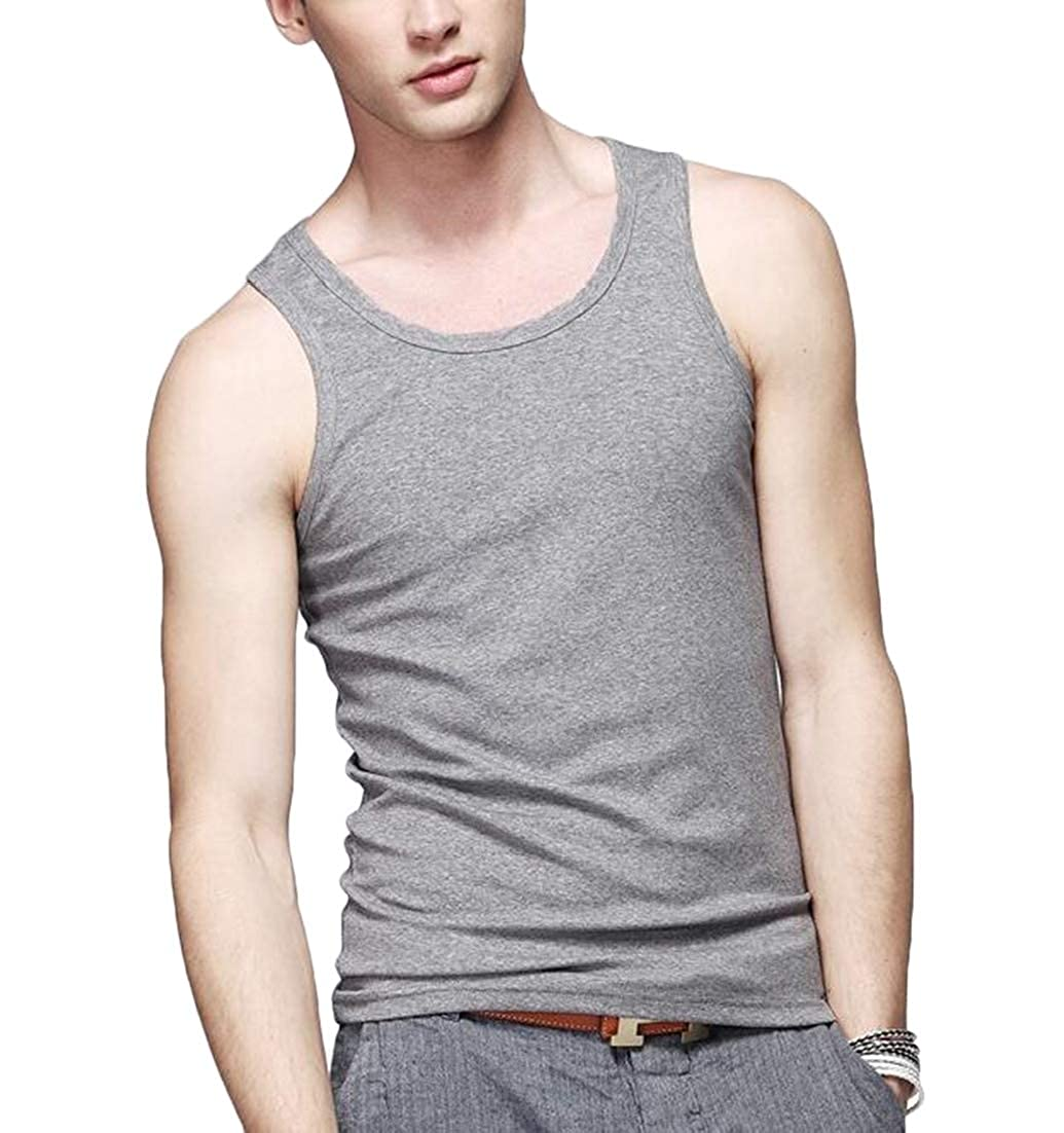 BLTR Men Fitness Slim Fit Sport Elastic Breathable Jersey T-Shirt Tank Top