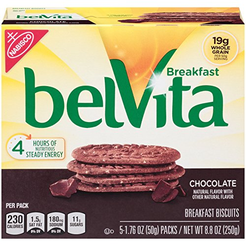 belVita Breakfast Biscuits, Chocolate, 5 Count Box, 8.8 Ounce (Pack of 6)
