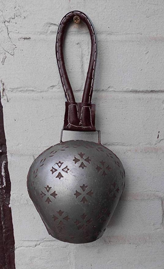 Kuhglocke Glockenschelle Lederband Eisen brossiert Edelrost