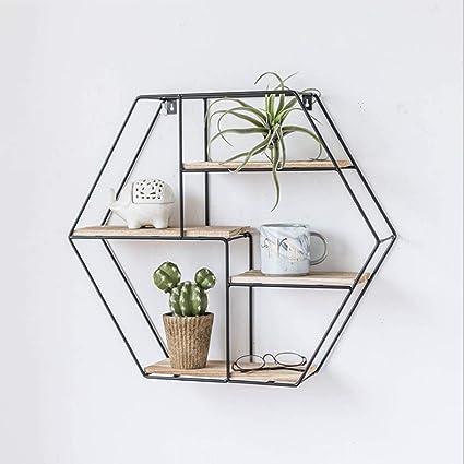LUYIASI- Hexagonal de hierro forjado montado en la pared ...