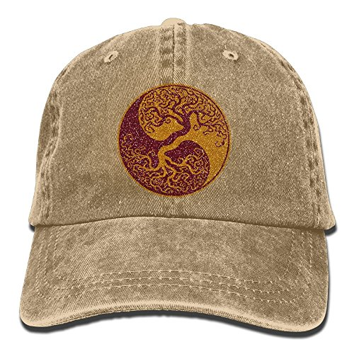 (Candetoryiy Glitter Yin Yang Bonsai Tree Japanese Classic Unisex Baseball Cap Adjustable Washed Dyed Cotton Ball Hat Natural)