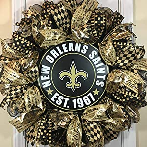 """New Orleans Saints Wreath for front door with deco mesh & ribbon, 26"""" 104"""