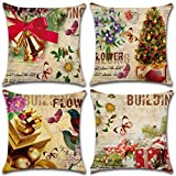 4Pcs Merry Christmas Cotton Linen Pillow Cover Square Burlap Decorative Throw Pillowslips Cushion Cover Pillowcases with Christmas Tree Santa Claus Christmas Deer Element, Series 5