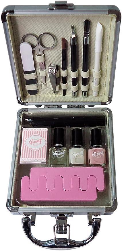 Gloss - caja de maquillaje, caja de regalo para mujeres - Maleta de Maquillaje - Beauty Nails - 14 Pzs: Amazon.es: Belleza