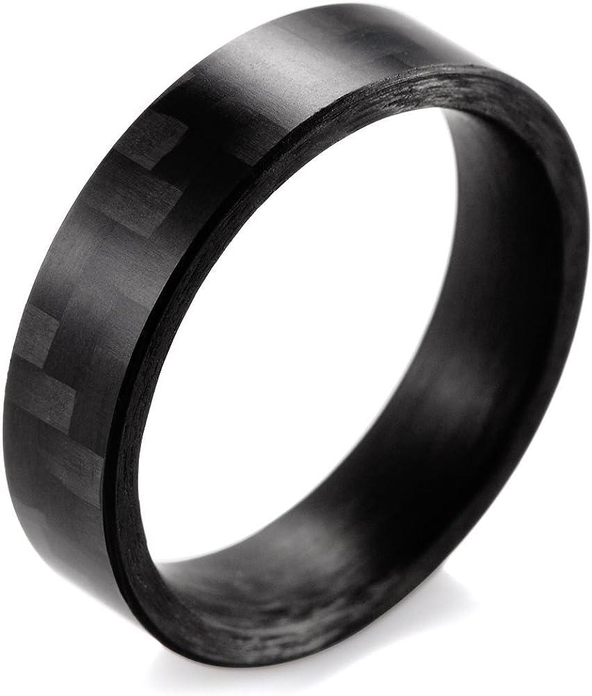 SHARDON Men and Women's 6mm Flat Pure Carbon Fiber Ring