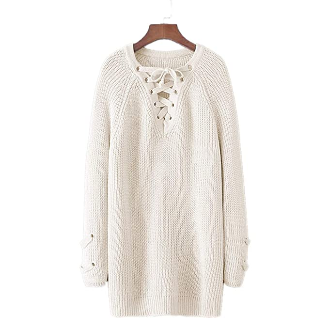 841f880c09 Image Unavailable. Image not available for. Color  Raylans Women s V Neck  Long Sleeve Lace Up Front Knit Mini Dress Top Pullover Sweater
