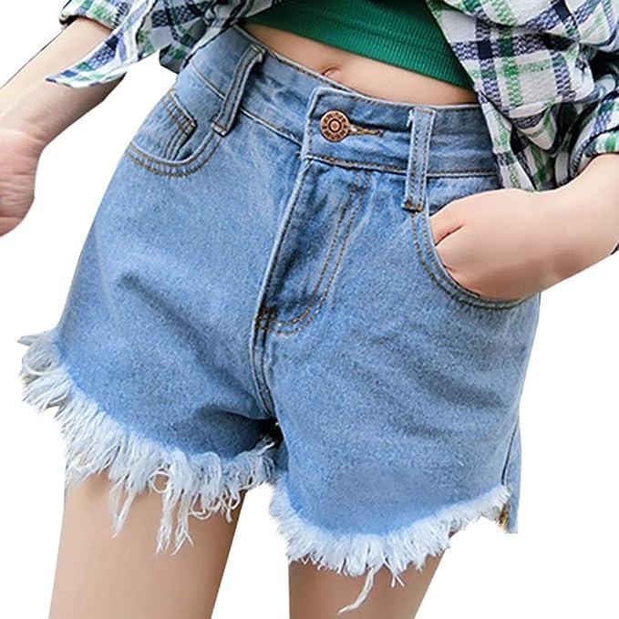 Qingsiy Pantalones Cortos Cortar Ripped Mujer Básicos ...