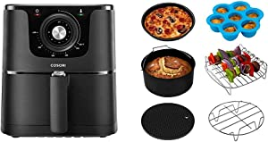 COSORI Air Fryer, Max XL 5.8-Quart, 1700-Watt Electric Hot Air Fryer Oven Oilless Cooker With Deluxe Temperature Knob Control & Air Fryer Accessories XL (C158-6AC), Set of 6