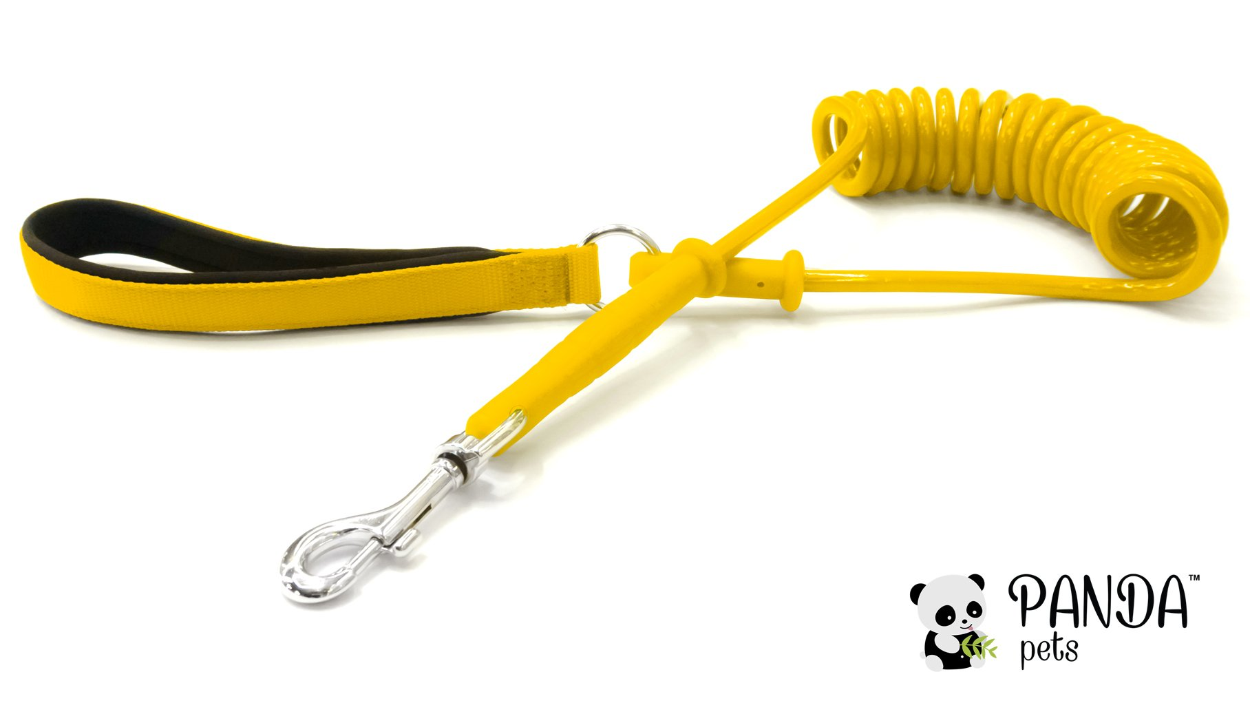 Coiled Dog Leash by Panda Pets - Super Durable - Anti Tangling - Flexible Molded-In Metal - Anti Pull Bungee Effect - Anti Chew - Padded Neoprene Inside (Yellow)