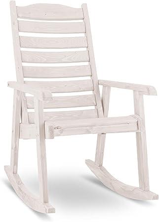 Blumfeldt Alabama Mecedora exterior para terraza silla relax jardín (150 kg carga de peso soportada, madera maciza, barniz protector inclemencias tiempo, incluye juego de montaje, blanca): Amazon.es: Hogar