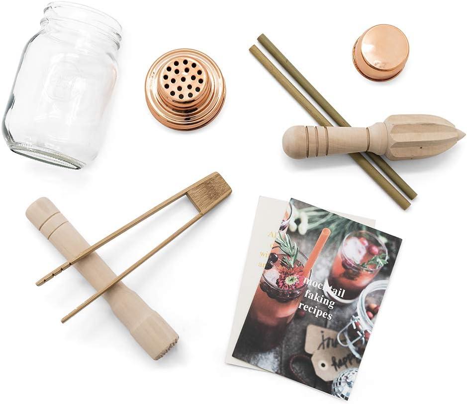Bambuszange Mason Jar Cocktailshaker St/ö/ßel Bambus-Strohhalme und Rezeptheft inkl Mixer-Set Saftpresse Calm Club Mocktail Shaker-Set