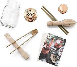 Calm Club Mocktail Shaker Kit - Mixer Set Includes Mason Jar Cocktail Shaker, Juicer, Muddler, Bamboo Tongs, Bamboo Straws and Mocktail Recipe Booklet