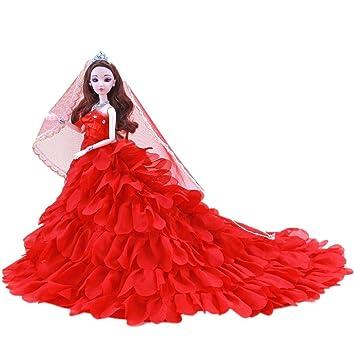 glorrt Cute pijama vestido de novia ropa para muñecas American Girl, Rojo