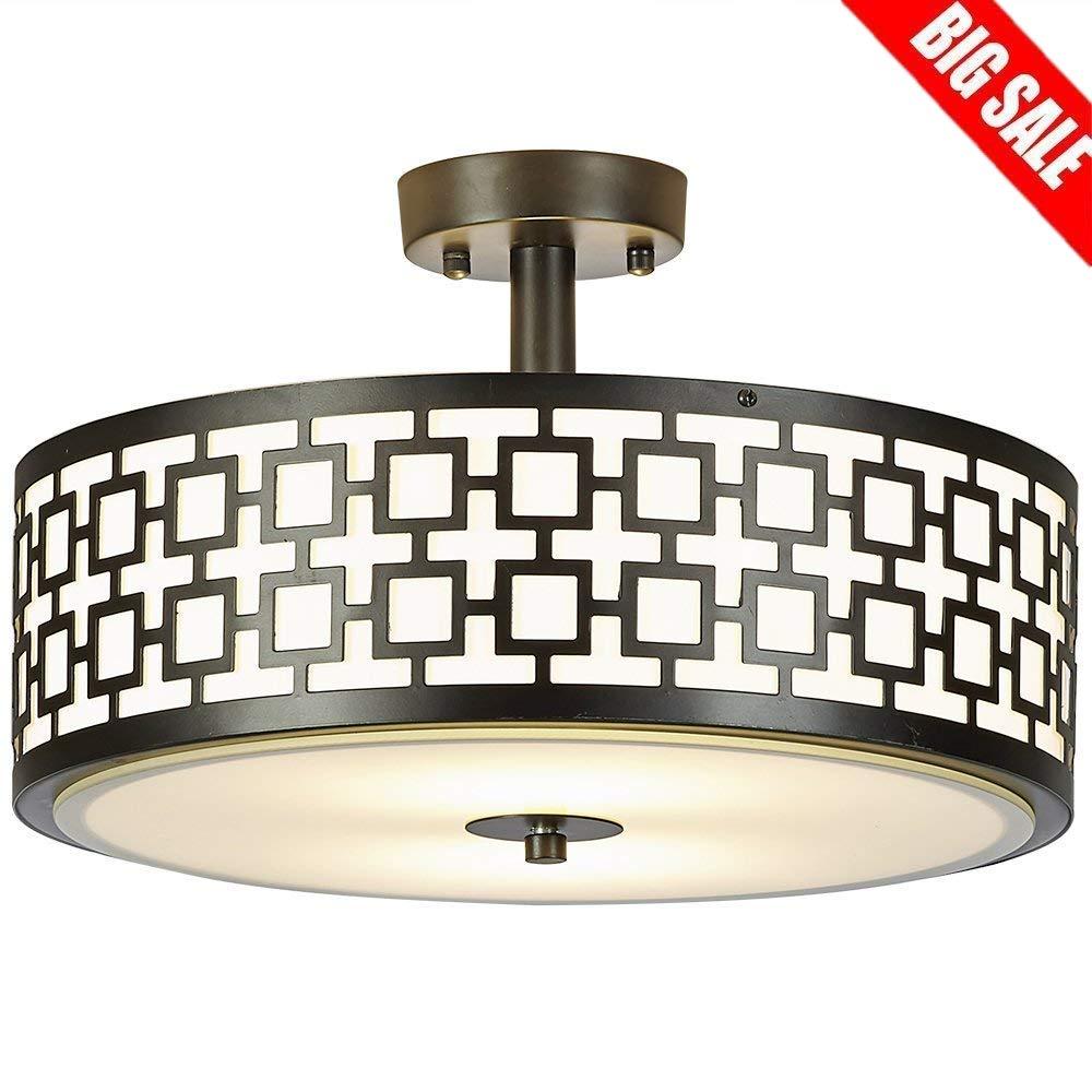 "SOTTAE Luxurious 2 Lights Glass Diffuser Black Finish Bedroom Living Room Ceiling Light,Ceiling Lamp Fixture(Diameter:15.74"")"