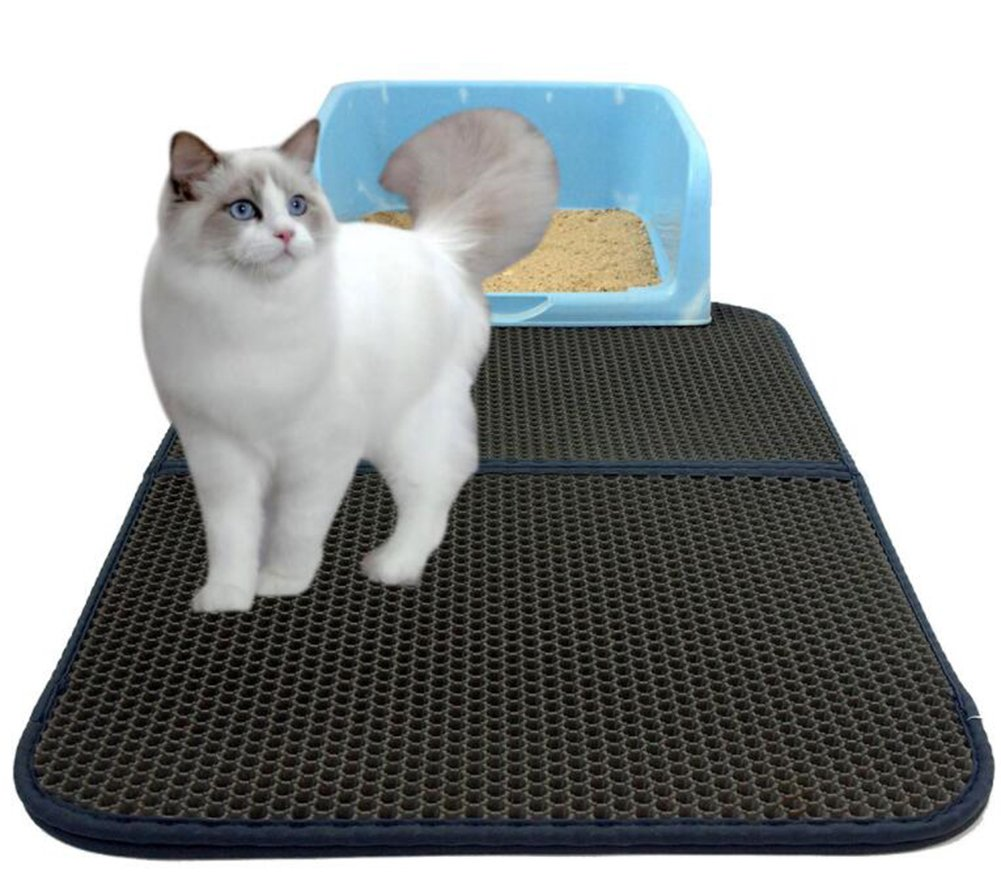 Cat Litter Mat Honeycomb Double-Layer Waterproof Urine Proof Mat Easy Clean and Floor Carpet Predection Large Size 30Inx22in