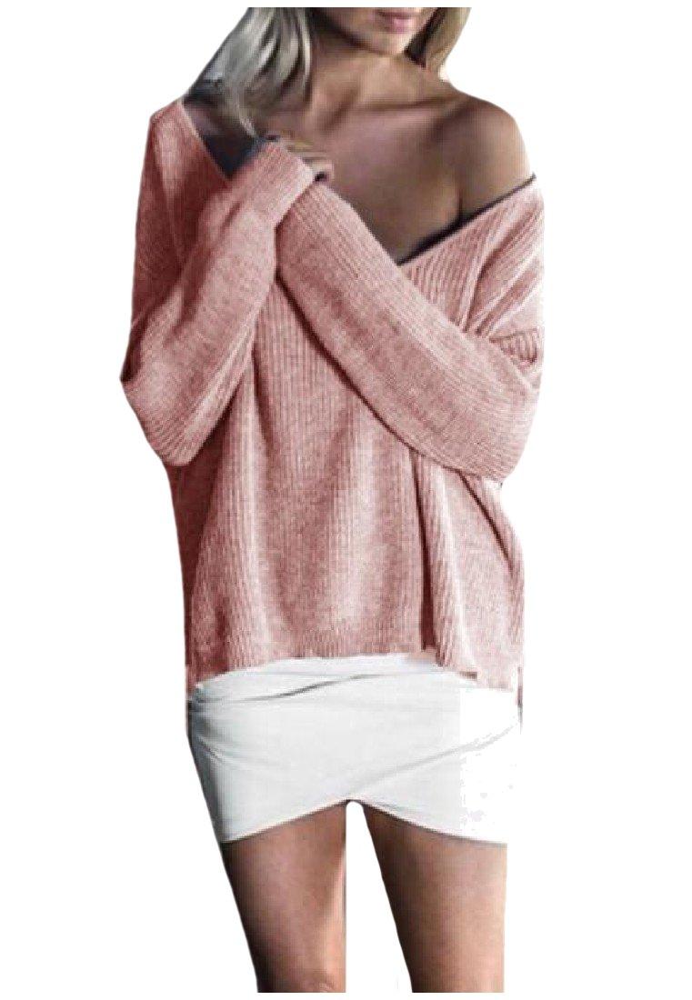 Sheng Xi Womens Pure Colour Knitting Shirt V Neck Long Sleeve Sweater