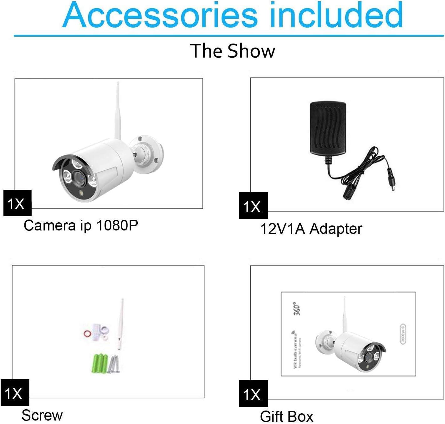 Antena Enchufe Est/ándar Europeo Blanco Cable de Alimentaci/ón 3m C/ámara IP 1080P para Kit Videovigilancia REIGY 5dbi IP66 a Prueba de Agua