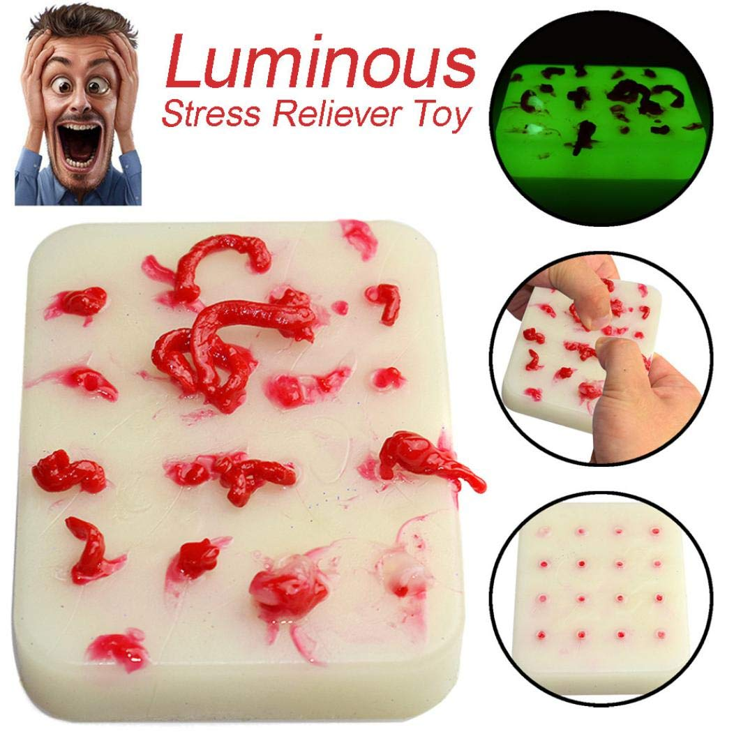 Tiean Squeeze Acne Toys Peach Pimple Popping Novelty Toy Luminous Popper Remover (Red)