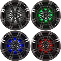 2- Pair (4-Speakers) With Multi Color LED Lights Kicker 6.5 195W Marine Audio Coaxial Stereo , Charcoal Grills