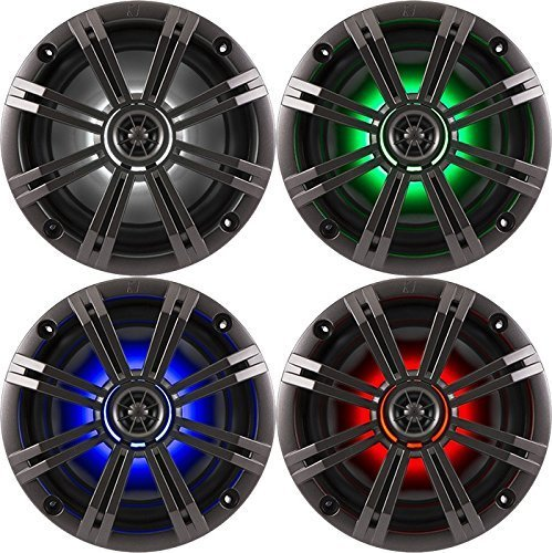"2- Pair (4-Speakers) With Multi Color LED Lights Kicker 6.5"" 195W Marine Audio Coaxial Stereo , Charcoal Grills"