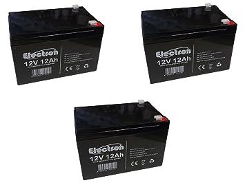 Kit de 3 baterías de plomo cíclicas de 12 V / 12 Ah recargables para bicicletas eléctricas de 36 V / 12 Ah: Amazon.es: Electrónica