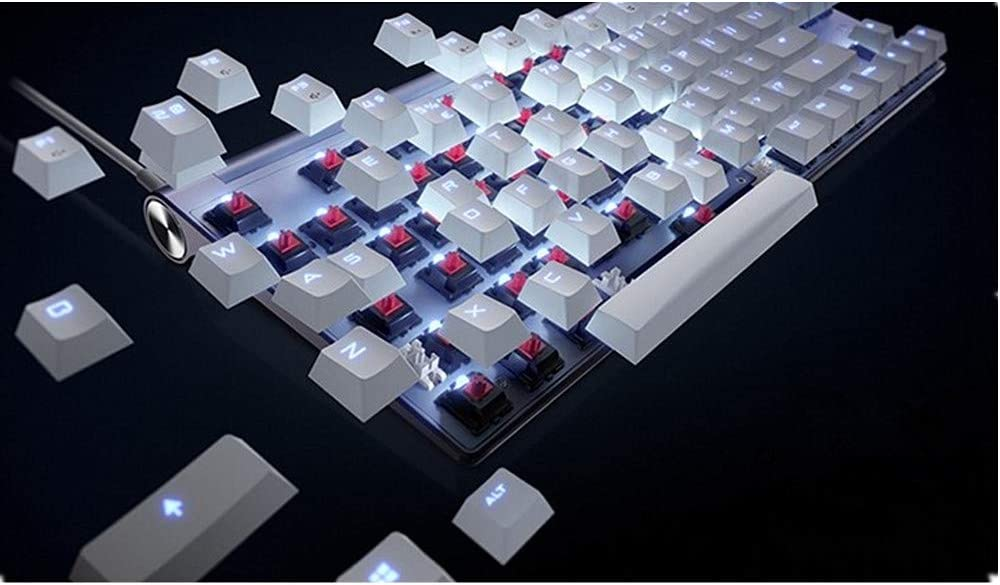 DERTHWER Gaming Keyboard 104 Keys Blue Switch Colorful Backlit Mechanical Gaming Keyboard One Size Compact Computer Keyboard Color : Photo Color, Size : One Size
