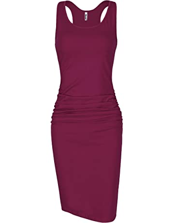 72e51c5aa Missufe Women's Sleeveless Racerback Tank Ruched Bodycon Sundress Midi  Fitted Casual Dress