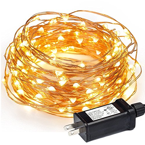 Outdoor String Lights, Ticent 100 Leds Copper Wire Starry String Lights 33ft Waterproof for Christmas, Bedroom, Patio, Parties, Weddings (Warm White)