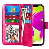 iPhone X Case, Pasonomi iPhone X Wallet Case with Detachable SlimCase - [Folio Style] PU leather wallet case with ID&Card Holder Slot Wrist Strap for Apple iPhone X 5.8 inch 2017 (Hot Pink)