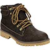 Soda IB85 Women's Lace Up Padded Cuff Hiking Combat Ankle Booties