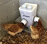 Poultry Bucket Feeder for Chickens, Ducks holds 20lb of crumbles, pellet, mash dry feeds- Use Inside or Outside of Coop - Use With Sideways Sipper Drinker Nipple Waterer (2 port 90 degree)