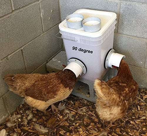 Poultry Bucket Feeder for Chickens, Ducks holds 20lb of crumbles, pellet, mash dry feeds- Use Inside or Outside of Coop - Use With Sideways Sipper Drinker Nipple Waterer (2 port 90 degree) by MuddyHillFarm