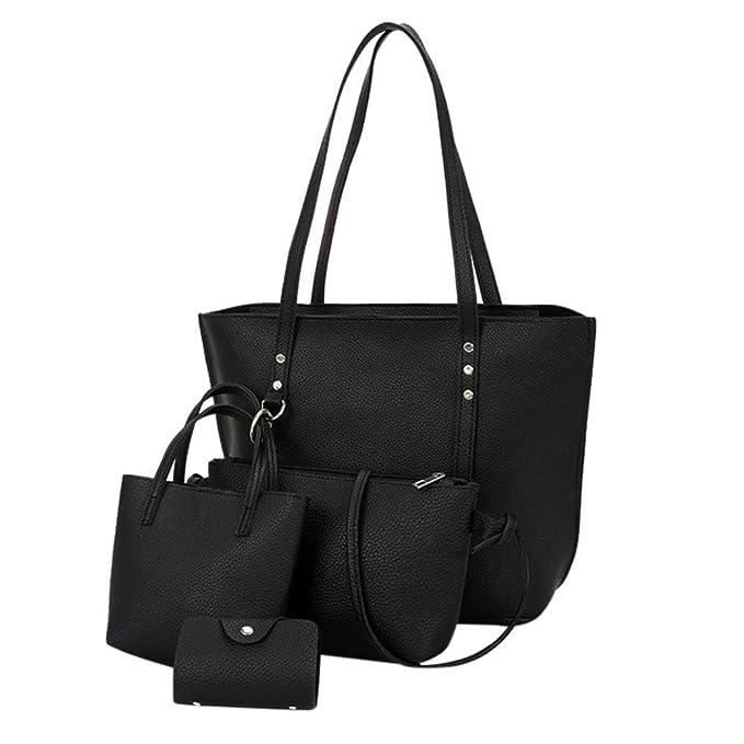 Amazon.com: sunyastor 4 piezas Mujer Patrón Bolsa de hombro ...