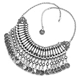 DemiJewelry Women Vintage Silver Tone Chain Statement Necklace Trendy Bohemian Turkish for Girl Accessories Jewelry