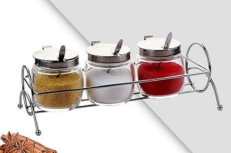 HCJTLP FJXLZ® Suministros de Cocina Cuadro de condimentos Combinación de espesas de Vidrio Spice Jar