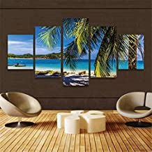 Earth Village Art-5 Pcs/Set HD Canvas Print Home Decor Wall Art Oil Paintings on Canvas Beautiful Picture 5p(No Framed)Hawaii Beach