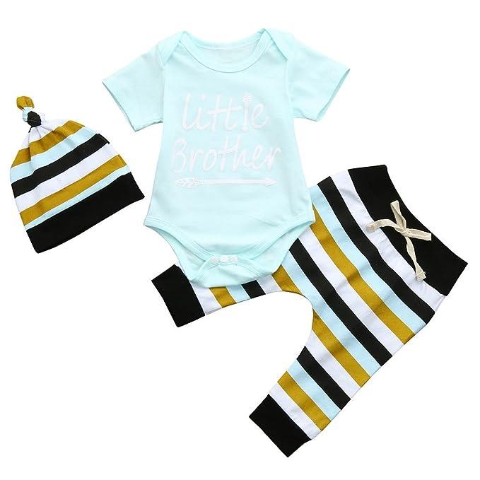 bcd6ac3bd Amazon.com  ❤ Mealeaf ❤ 3Pcs Toddler Baby Boys Letter Romper ...