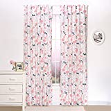 Coral and Navy Floral Blackout Window Drapery Panels – Two 84 by 42 Inch Panels