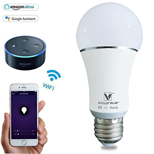 WiFi Bombilla Alexa LED Lámpara- VICTORSTAR Inalámbrico Regulable Luces Multicolores Funciona con Alexa, iOS