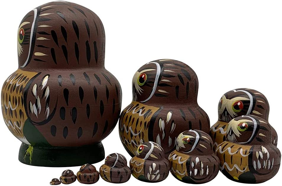 Pivizon Cute Vivid Big Belly Shape Handmade Wooden Owl Russian Nesting Dolls Matryoshka Dolls Set of 10 Pieces for Kids Toy Home Decoration Birthday Gift for Daughter