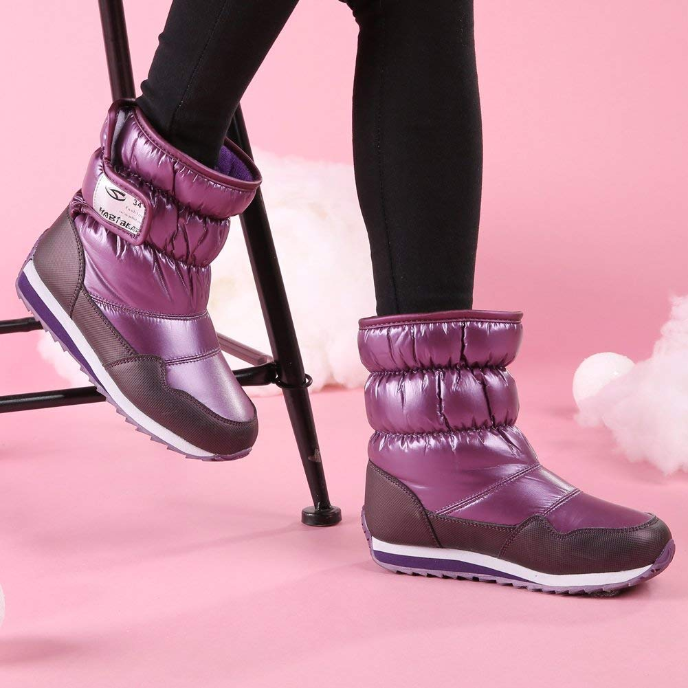 VILOCY Kids Winter Waterproof Fur Lined Snow Boots Warm Sneaker Mid Calf Shoes