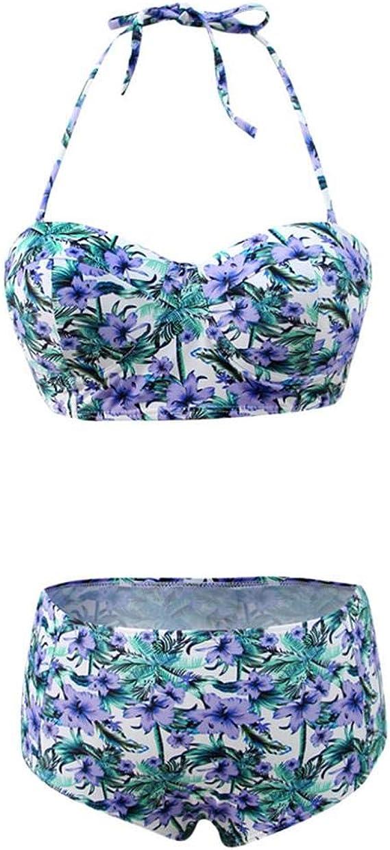 VJGOAL Moda Casual de Verano para Mujer Sujetador Push-up de Cintura Alta Atractivo Vestido de Bikini con Estampado Floral de Hojas Traje de baño Traje de baño Dividido: Amazon.es: Ropa y accesorios