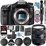 Sony Alpha a77 II DSLR Camera (Body Only) ILCA77M2 + Sony DT 16-105mm f/3.5-5.6 Lens SAL16105 + VG-C77AM Vertical Battery Grip + NP-FM500H Lithium Ion Battery + 64GB SDXC Card + Fibercloth Bundle