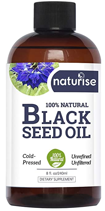 Naturise Black Seed Oil - Cold Pressed Black Cumin Seed Oil Pure From The  Nigella Sativa - Source of