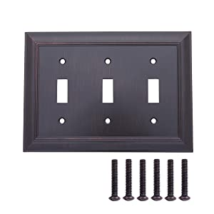 AmazonBasics Triple Toggle Wall Plate, Oil Rubbed Bronze, 1-Pack