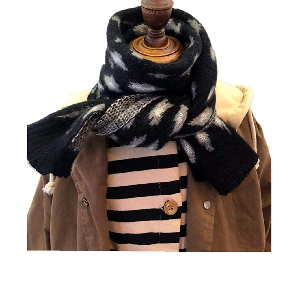 Fashion Leopard Knitted Scarf For Boys Girls Toddler Kids Winter Neck Warmer Chic Scarves